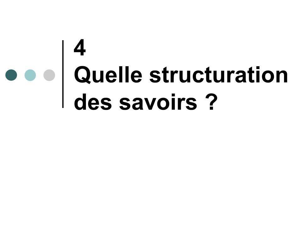 4 Quelle structuration des savoirs ?