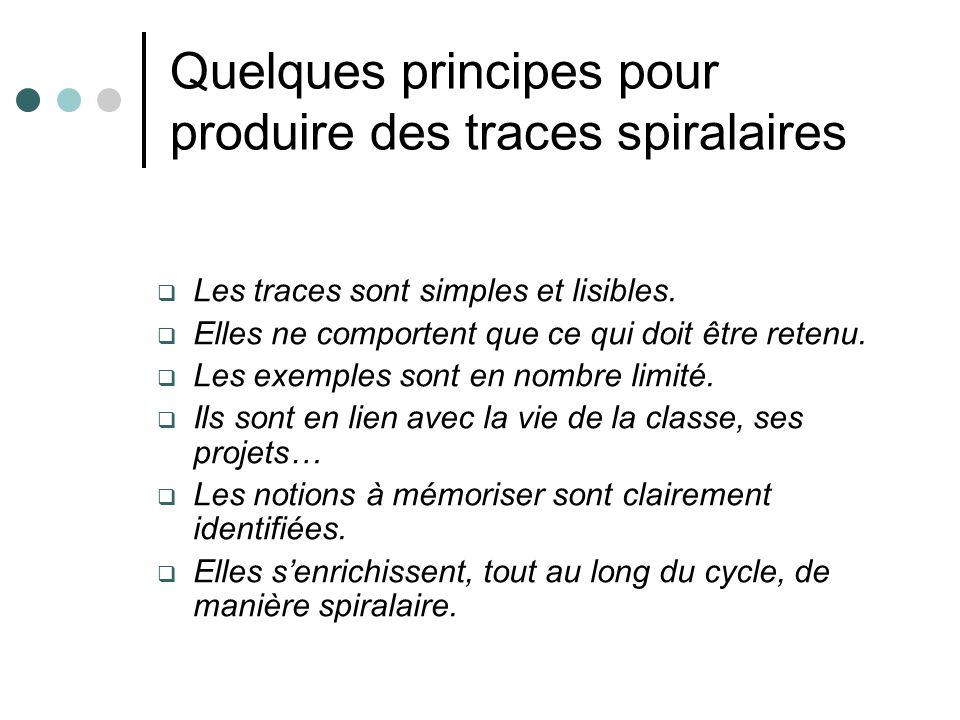 Quelques principes pour produire des traces spiralaires Les traces sont simples et lisibles. Elles ne comportent que ce qui doit être retenu. Les exem