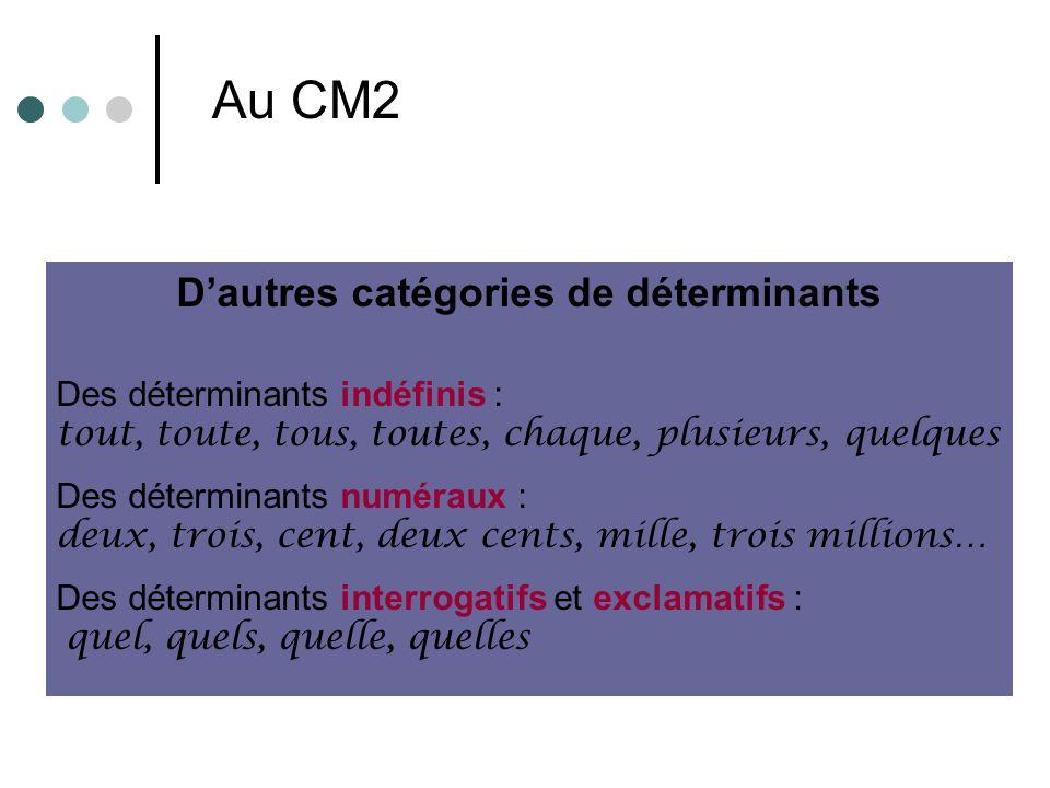 Dautres catégories de déterminants Des déterminants indéfinis : tout, toute, tous, toutes, chaque, plusieurs, quelques Des déterminants numéraux : deu