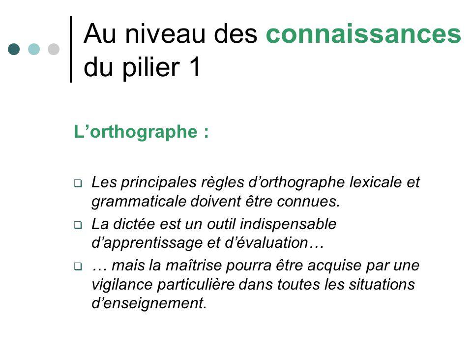 Au niveau des connaissances du pilier 1 Lorthographe : Les principales règles dorthographe lexicale et grammaticale doivent être connues. La dictée es
