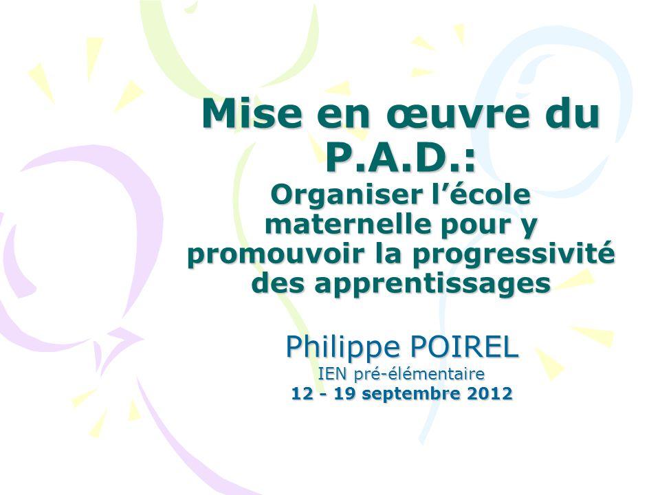 Philippe POIREL IEN prélémentaire - Sept.2012 Modalités 2.