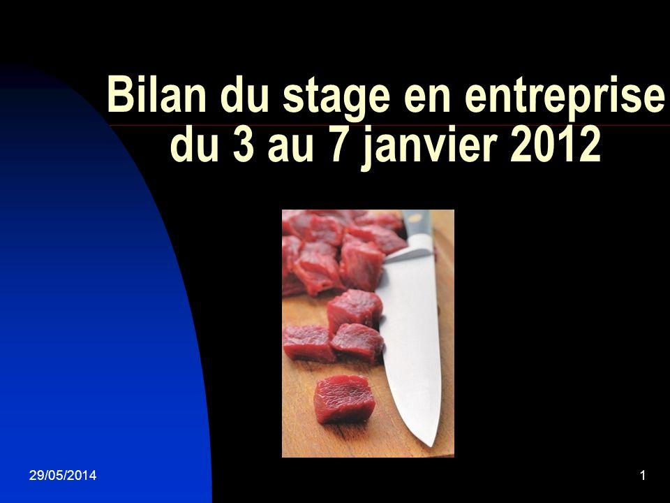 29/05/20141 Bilan du stage en entreprise du 3 au 7 janvier 2012