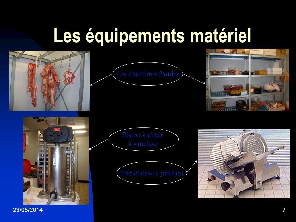 29/05/20148 Les équipements matériel La scie La raclette Le désosseur Léplucheur Le trancheur La feuille Le fusil Lattendrisseur