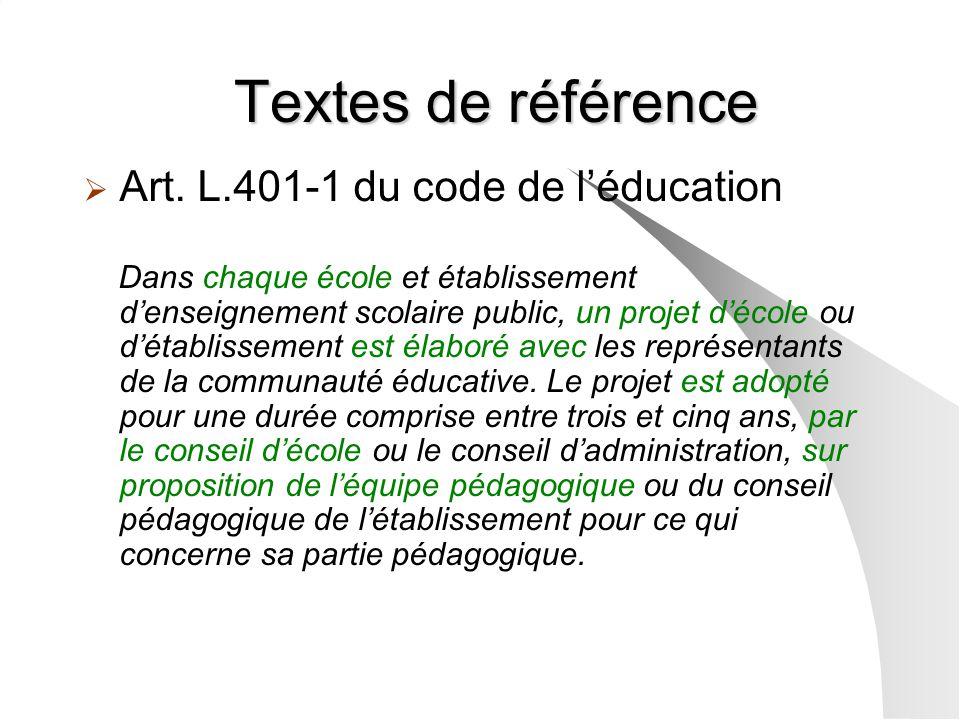 Textes de référence Art. L.401-1 du code de léducation Dans chaque école et établissement denseignement scolaire public, un projet décole ou détabliss