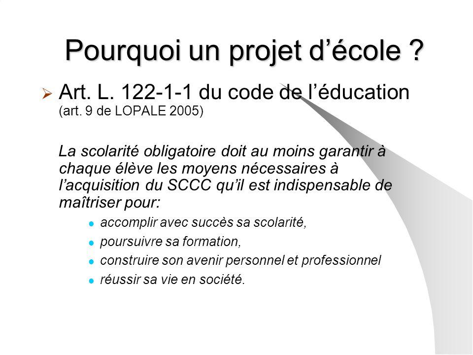 Pourquoi un projet décole ? Art. L. 122-1-1 du code de léducation (art. 9 de LOPALE 2005) La scolarité obligatoire doit au moins garantir à chaque élè