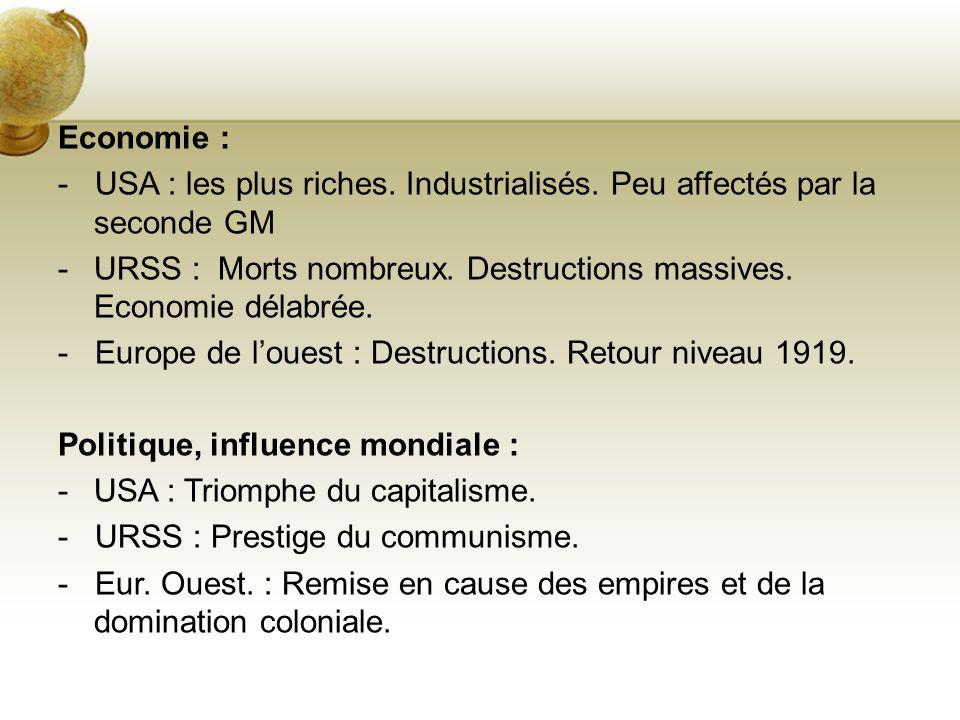 Economie : - USA : les plus riches. Industrialisés. Peu affectés par la seconde GM -URSS : Morts nombreux. Destructions massives. Economie délabrée. -