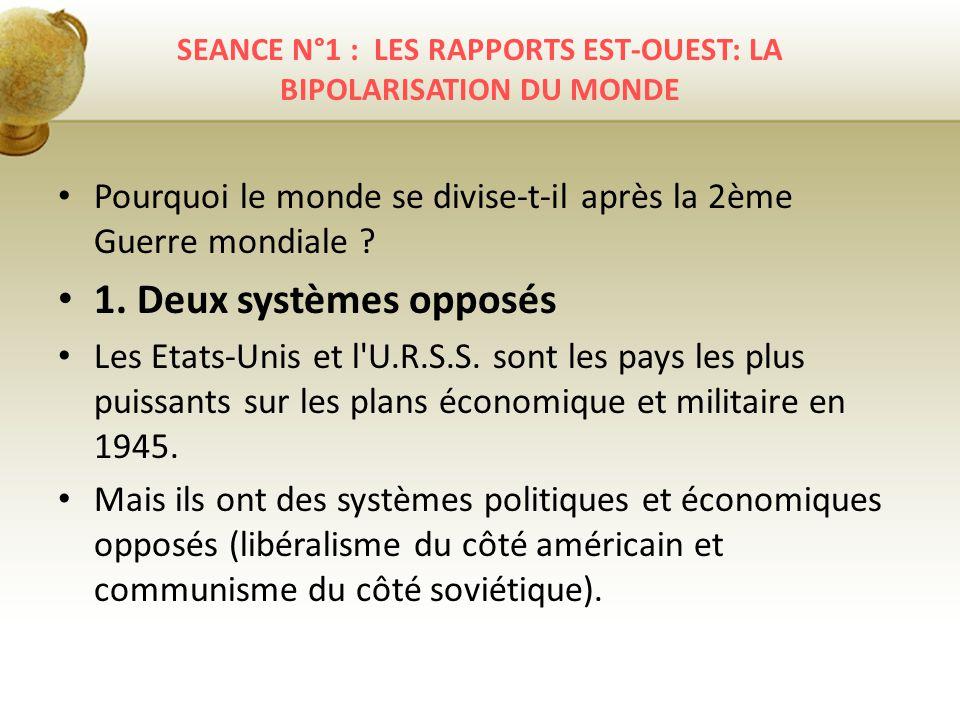 SEANCE N°1 : LES RAPPORTS EST-OUEST: LA BIPOLARISATION DU MONDE Pourquoi le monde se divise-t-il après la 2ème Guerre mondiale ? 1. Deux systèmes oppo