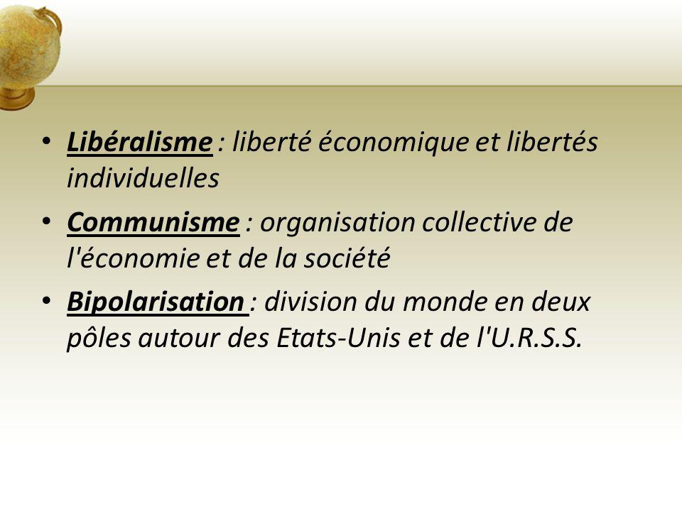 Libéralisme : liberté économique et libertés individuelles Communisme : organisation collective de l'économie et de la société Bipolarisation : divisi