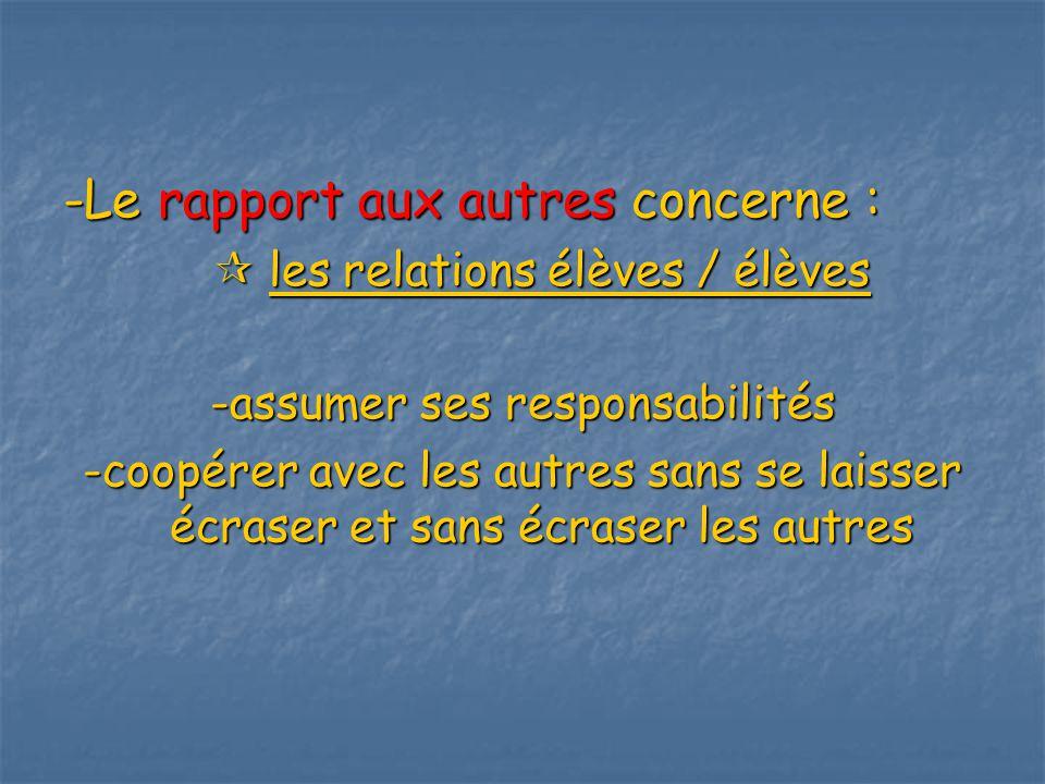 -Le rapport aux autres concerne : les relations élèves / élèves -assumer ses responsabilités -coopérer avec les autres sans se laisser écraser et sans écraser les autres