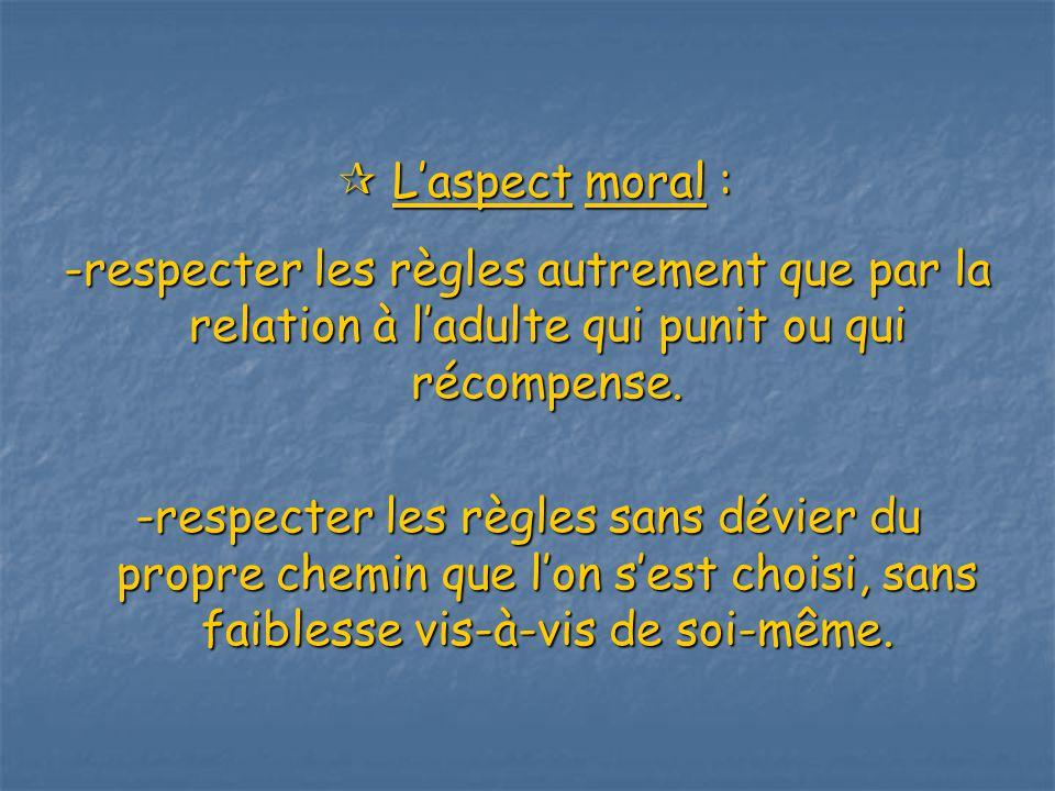 Laspect moral : Laspect moral : -respecter les règles autrement que par la relation à ladulte qui punit ou qui récompense.