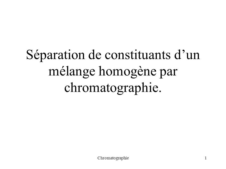 Chromatographie1 Séparation de constituants dun mélange homogène par chromatographie.