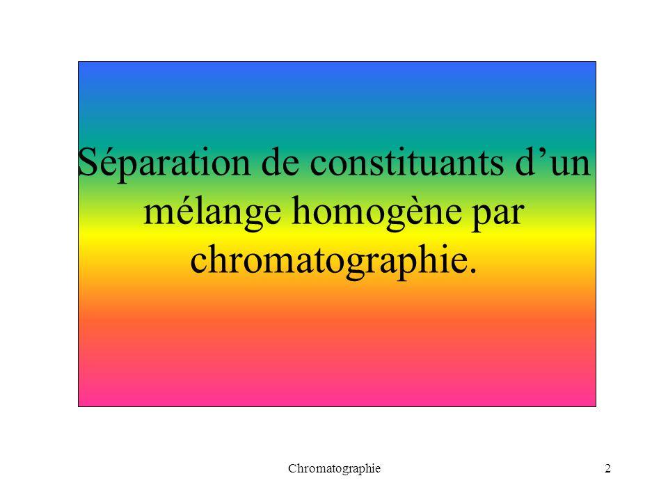 Chromatographie3 Objectifs : savoir que la chromatographie permet de séparer un mélange de colorants.