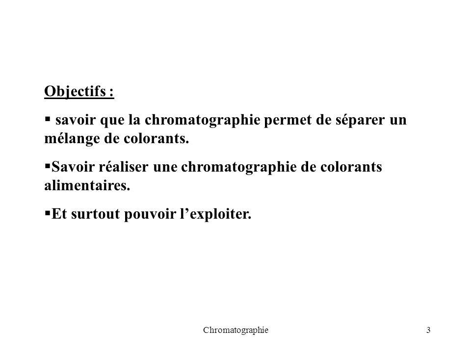 Chromatographie3 Objectifs : savoir que la chromatographie permet de séparer un mélange de colorants. Savoir réaliser une chromatographie de colorants