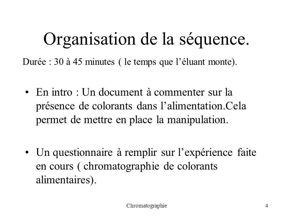 Chromatographie4 Organisation de la séquence. En intro : Un document à commenter sur la présence de colorants dans lalimentation.Cela permet de mettre