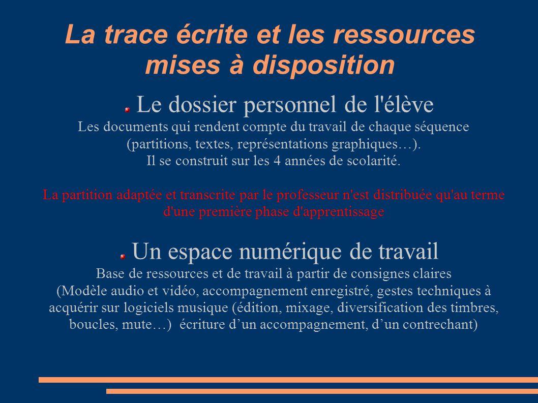 La trace écrite et les ressources mises à disposition Le dossier personnel de l'élève Les documents qui rendent compte du travail de chaque séquence (