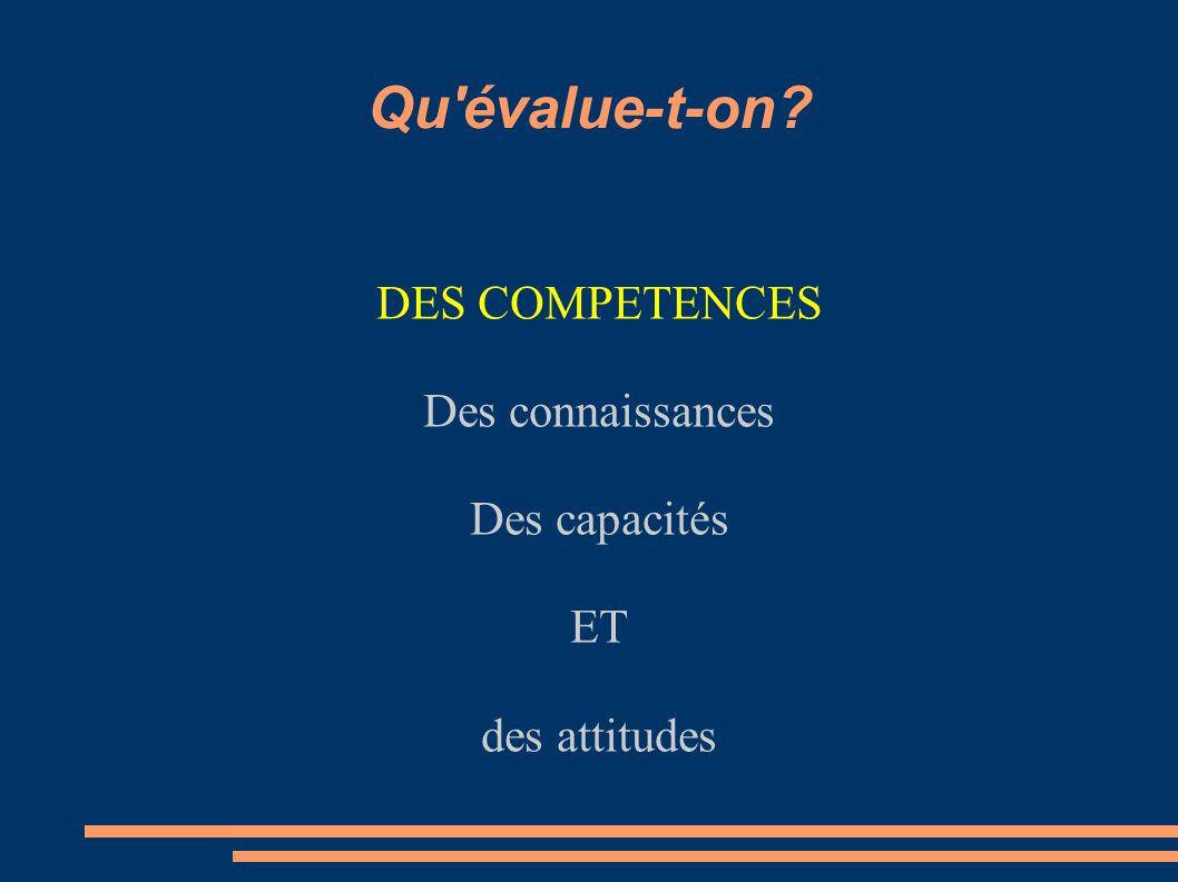 Qu'évalue-t-on? DES COMPETENCES Des connaissances Des capacités ET des attitudes