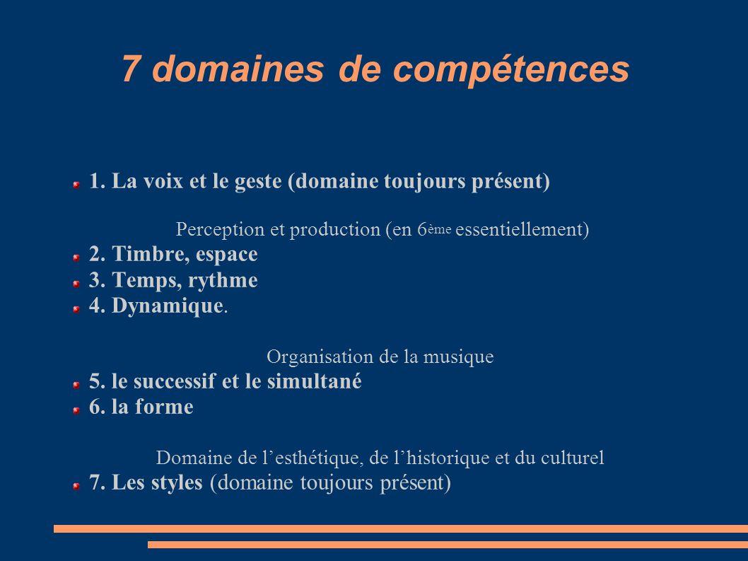 7 domaines de compétences 1. La voix et le geste (domaine toujours présent) Perception et production (en 6 ème essentiellement) 2. Timbre, espace 3. T