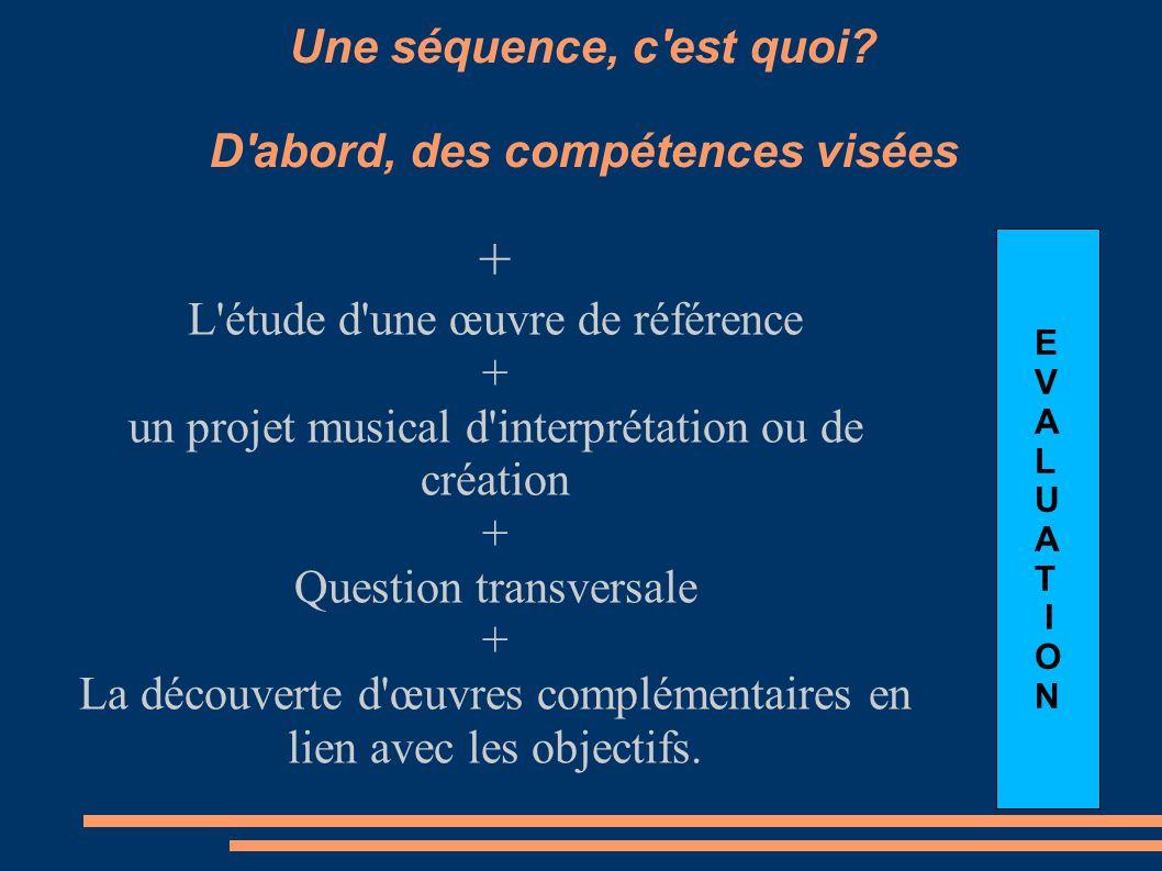 Une séquence, c'est quoi? D'abord, des compétences visées + L'étude d'une œuvre de référence + un projet musical d'interprétation ou de création + Que