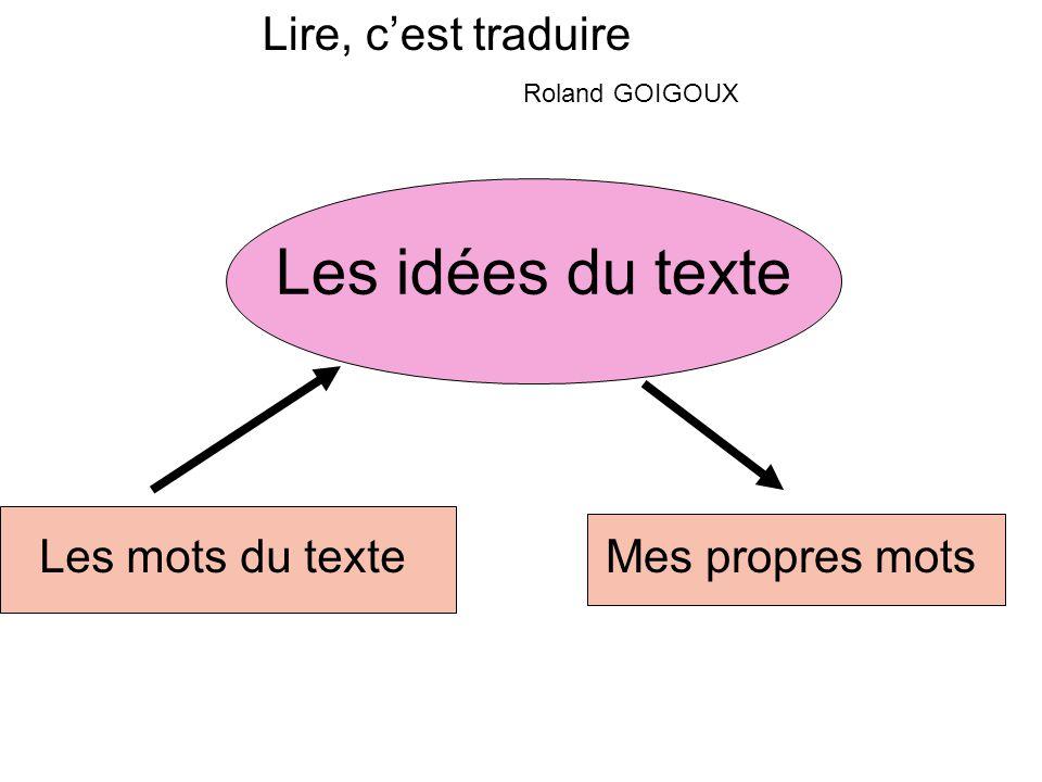 Lire, cest traduire Roland GOIGOUX Les idées du texte Les mots du texteMes propres mots