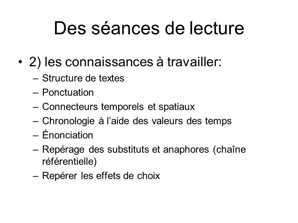2) les connaissances à travailler: –Structure de textes –Ponctuation –Connecteurs temporels et spatiaux –Chronologie à laide des valeurs des temps –Én