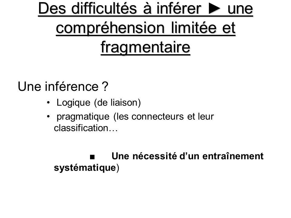 Des difficultés à inférer une compréhension limitée et fragmentaire Une inférence ? Logique (de liaison) pragmatique (les connecteurs et leur classifi