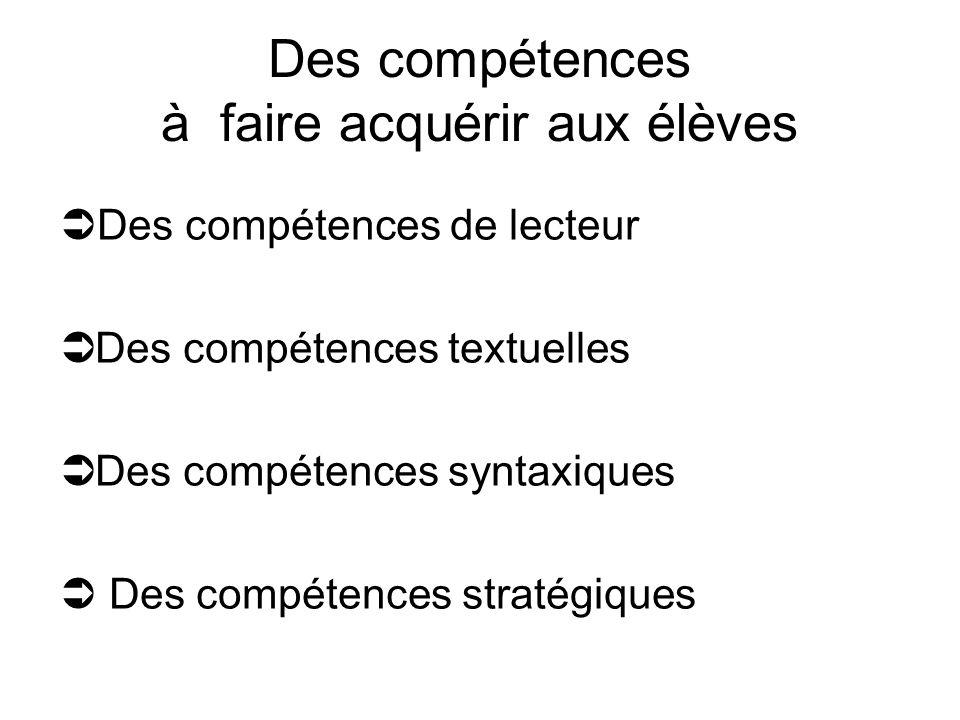 Des compétences à faire acquérir aux élèves Des compétences de lecteur Des compétences textuelles Des compétences syntaxiques Des compétences stratégi