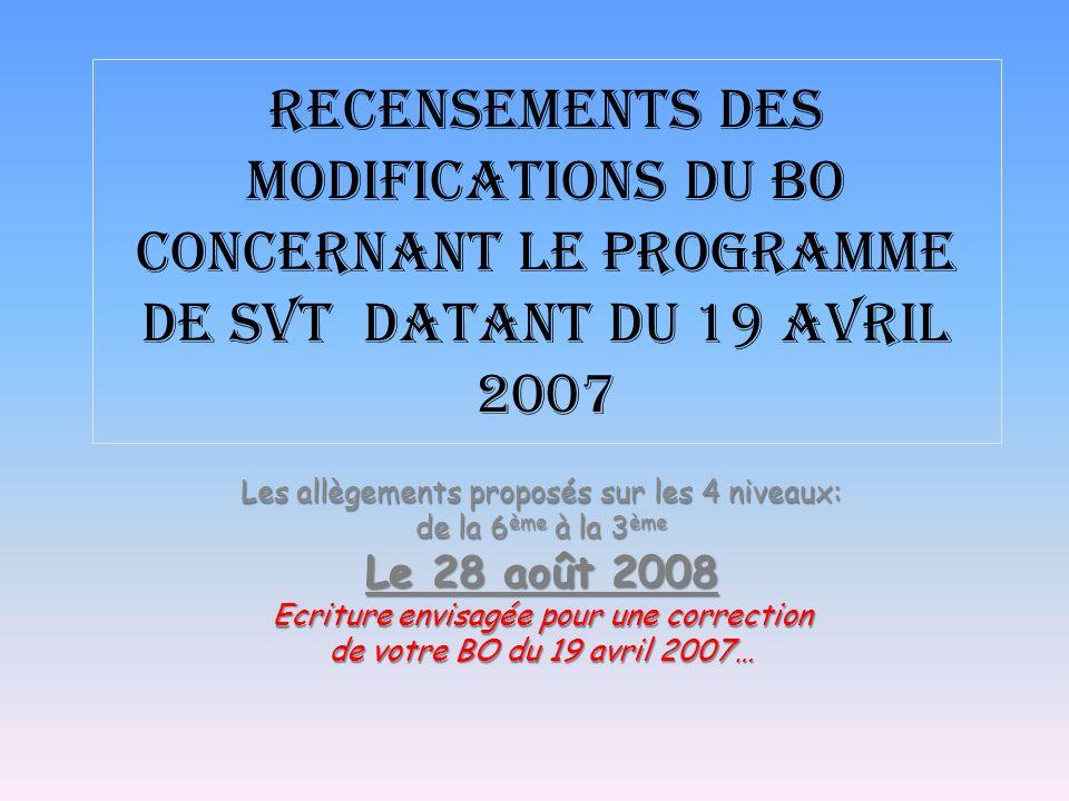 Recensements Des modifications du BO concernant le programme de SVT datant du 19 avril 2007 Les allègements proposés sur les 4 niveaux: de la 6 ème à