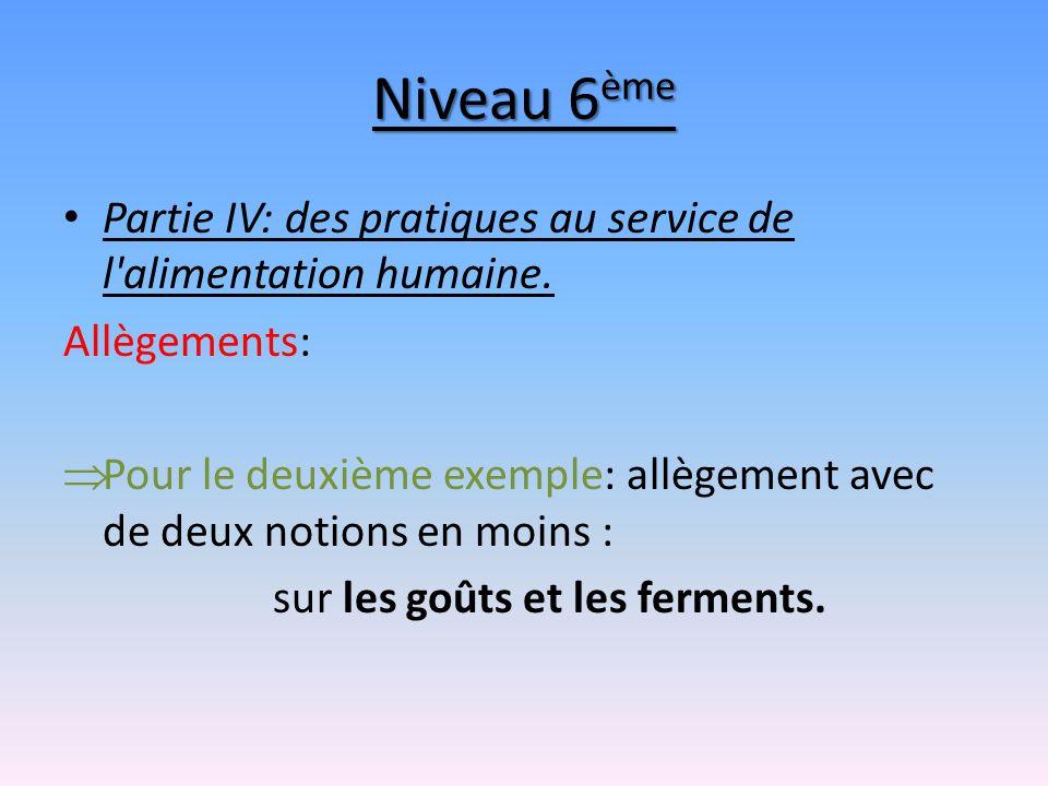 Niveau 6 ème Partie IV: des pratiques au service de l'alimentation humaine. Allègements: Pour le deuxième exemple: allègement avec de deux notions en