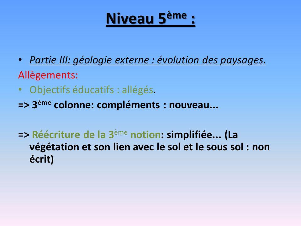 Niveau 5 ème : Partie III: géologie externe : évolution des paysages. Allègements: Objectifs éducatifs : allégés. => 3 ème colonne: compléments : nouv