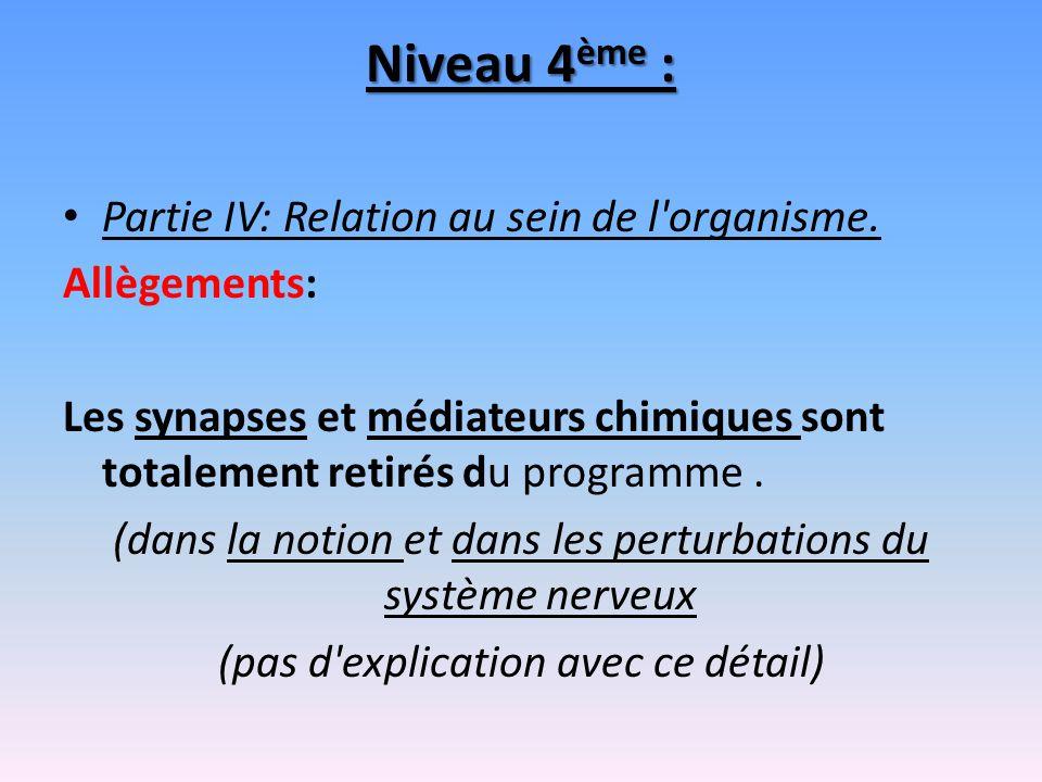 Niveau 4 ème : Partie IV: Relation au sein de l'organisme. Allègements: Les synapses et médiateurs chimiques sont totalement retirés du programme. (da