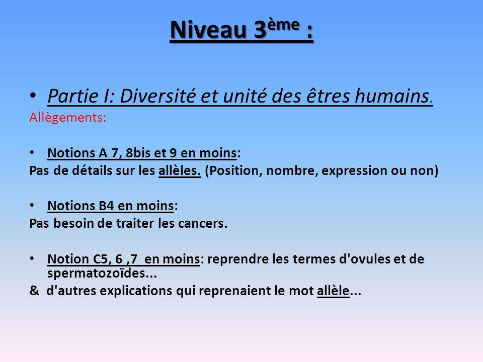 Niveau 3 ème : Partie I: Diversité et unité des êtres humains. Allègements: Notions A 7, 8bis et 9 en moins: Pas de détails sur les allèles. (Position
