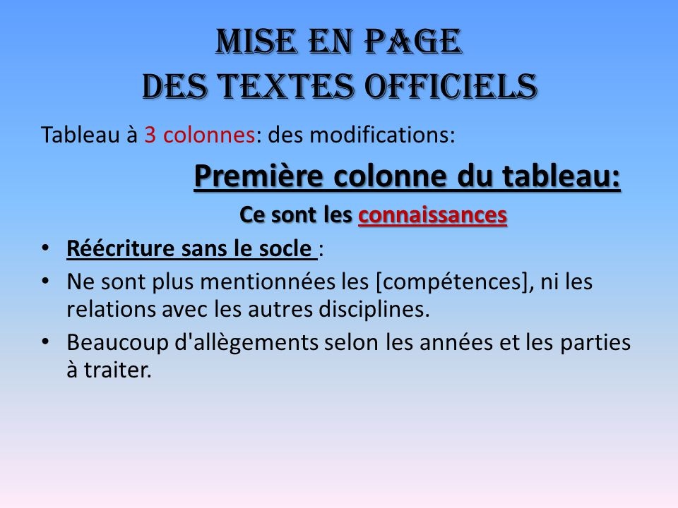 Mise en page des textes officiels Tableau à 3 colonnes: des modifications: Première colonne du tableau: Ce sont les connaissances Réécriture sans le s
