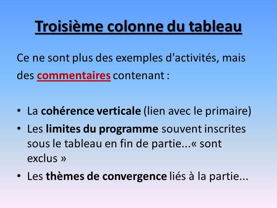 Troisième colonne du tableau Ce ne sont plus des exemples d'activités, mais des commentaires contenant : La cohérence verticale (lien avec le primaire