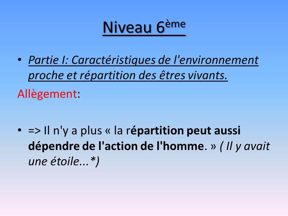 Niveau 6 ème Partie I: Caractéristiques de l'environnement proche et répartition des êtres vivants. Allègement: => Il n'y a plus « la répartition peut