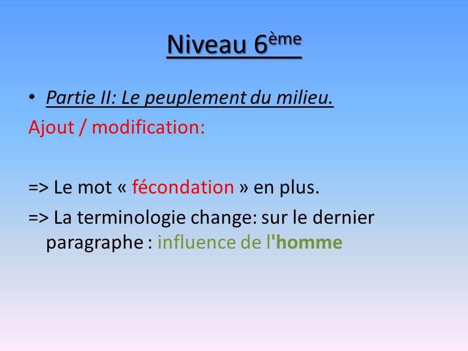 Niveau 6 ème Partie II: Le peuplement du milieu. Ajout / modification: => Le mot « fécondation » en plus. => La terminologie change: sur le dernier pa