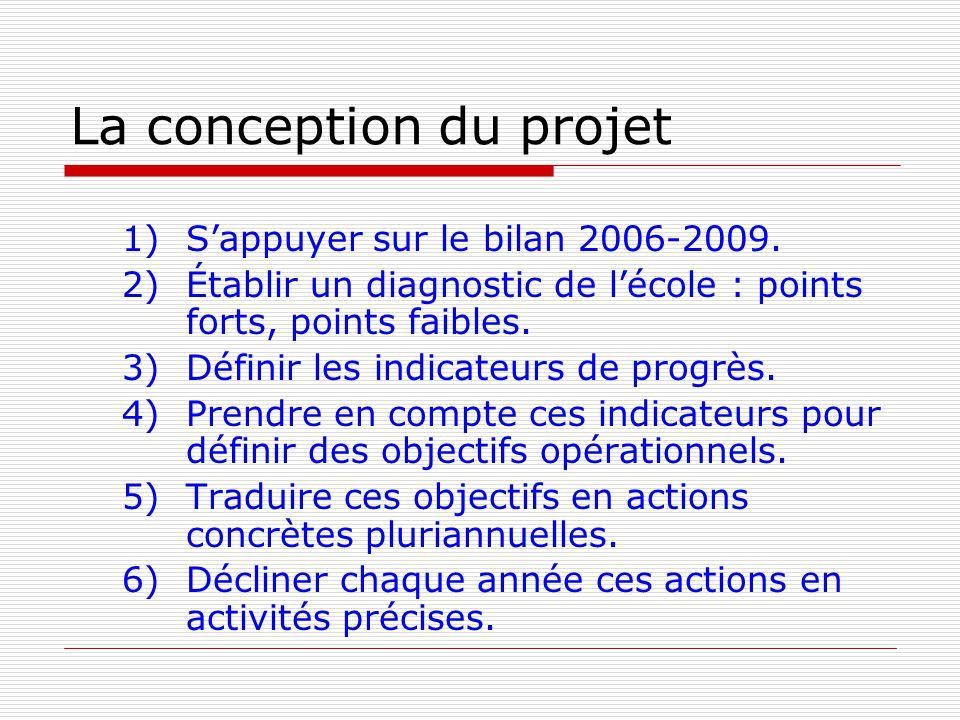 Les faiblesses constatées dans la rédaction des projets décole 2006 - 2009 Létat des lieux mériterait dêtre étayé par des indicateurs quantifiés.