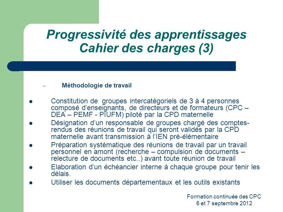 Formation continuée des CPC 6 et 7 septembre 2012 Progressivité des apprentissages Cahier des charges (3) – Méthodologie de travail Constitution de gr