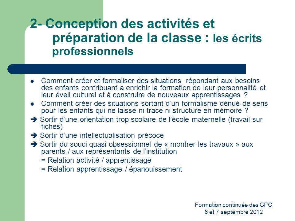Formation continuée des CPC 6 et 7 septembre 2012 2- Conception des activités et préparation de la classe : les écrits professionnels Comment créer et