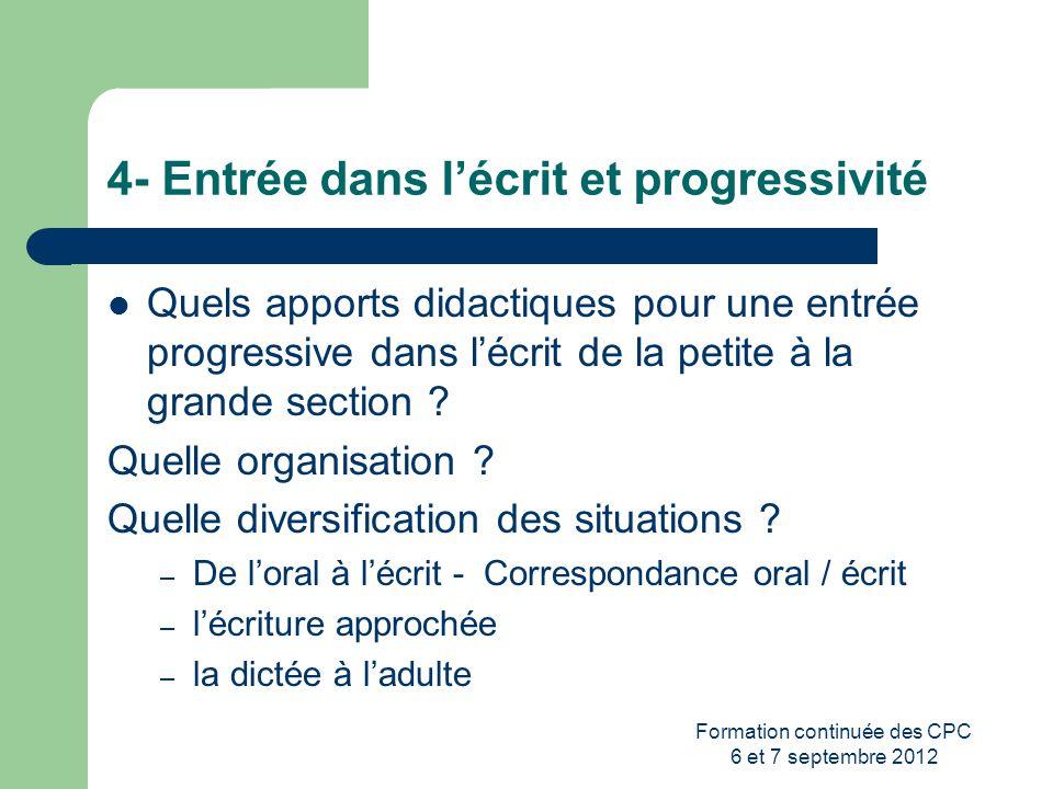 Formation continuée des CPC 6 et 7 septembre 2012 4- Entrée dans lécrit et progressivité Quels apports didactiques pour une entrée progressive dans lé