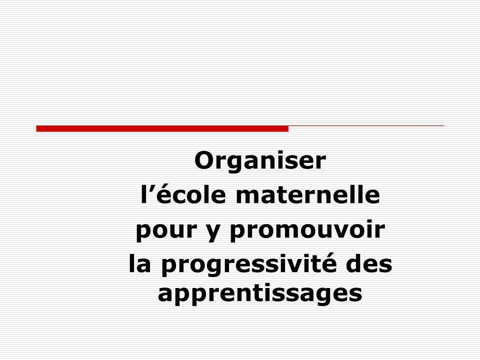 Organiser lécole maternelle pour y promouvoir la progressivité des apprentissages