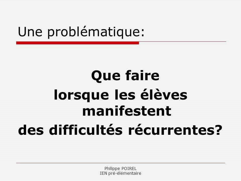 Philippe POIREL IEN pré-élémentaire Une problématique: Que faire lorsque les élèves manifestent des difficultés récurrentes?