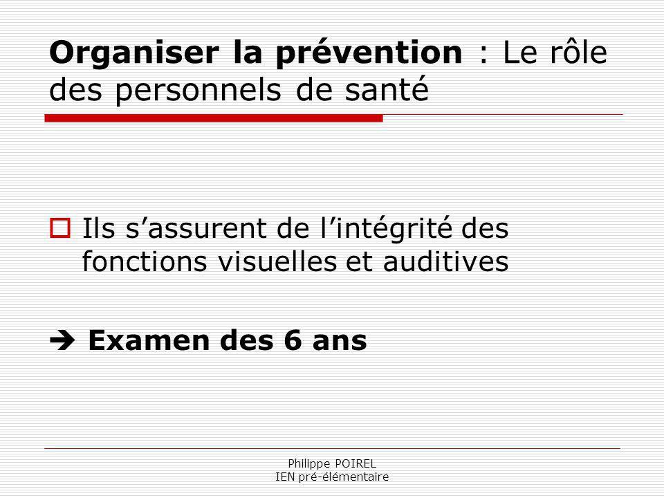Philippe POIREL IEN pré-élémentaire Organiser la prévention : Le rôle des personnels de santé Ils sassurent de lintégrité des fonctions visuelles et a
