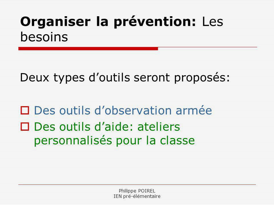 Philippe POIREL IEN pré-élémentaire Organiser la prévention: Les besoins Deux types doutils seront proposés: Des outils dobservation armée Des outils