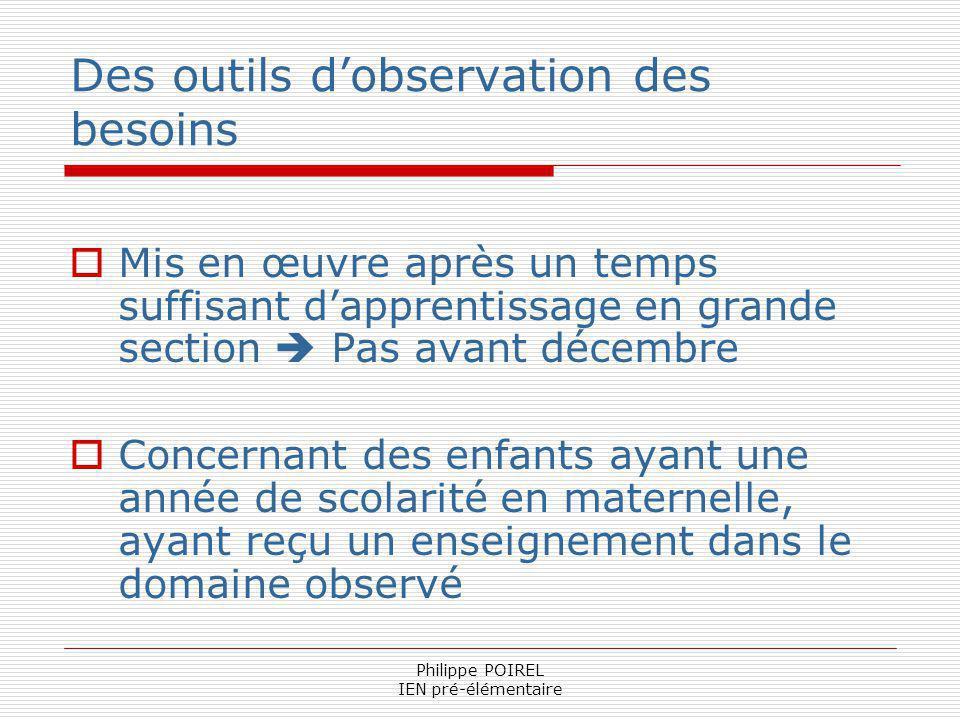 Philippe POIREL IEN pré-élémentaire Des outils dobservation des besoins Mis en œuvre après un temps suffisant dapprentissage en grande section Pas ava