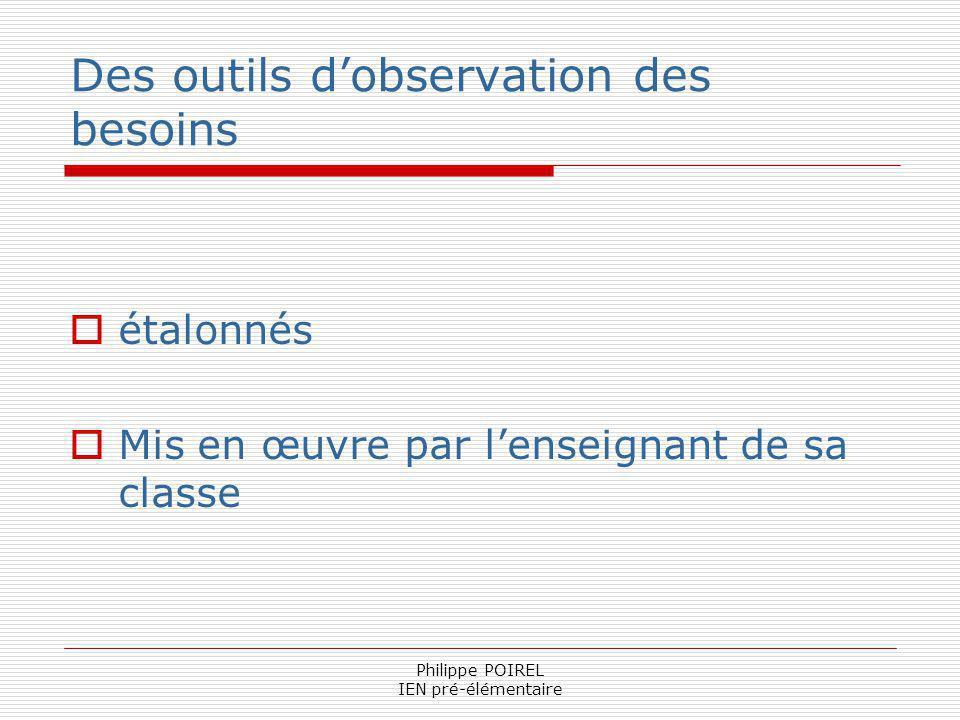 Philippe POIREL IEN pré-élémentaire Des outils dobservation des besoins étalonnés Mis en œuvre par lenseignant de sa classe