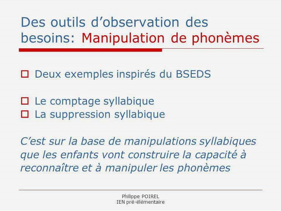 Philippe POIREL IEN pré-élémentaire Des outils dobservation des besoins: Manipulation de phonèmes Deux exemples inspirés du BSEDS Le comptage syllabiq