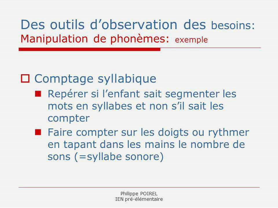 Philippe POIREL IEN pré-élémentaire Des outils dobservation des besoins: Manipulation de phonèmes: exemple Comptage syllabique Repérer si lenfant sait