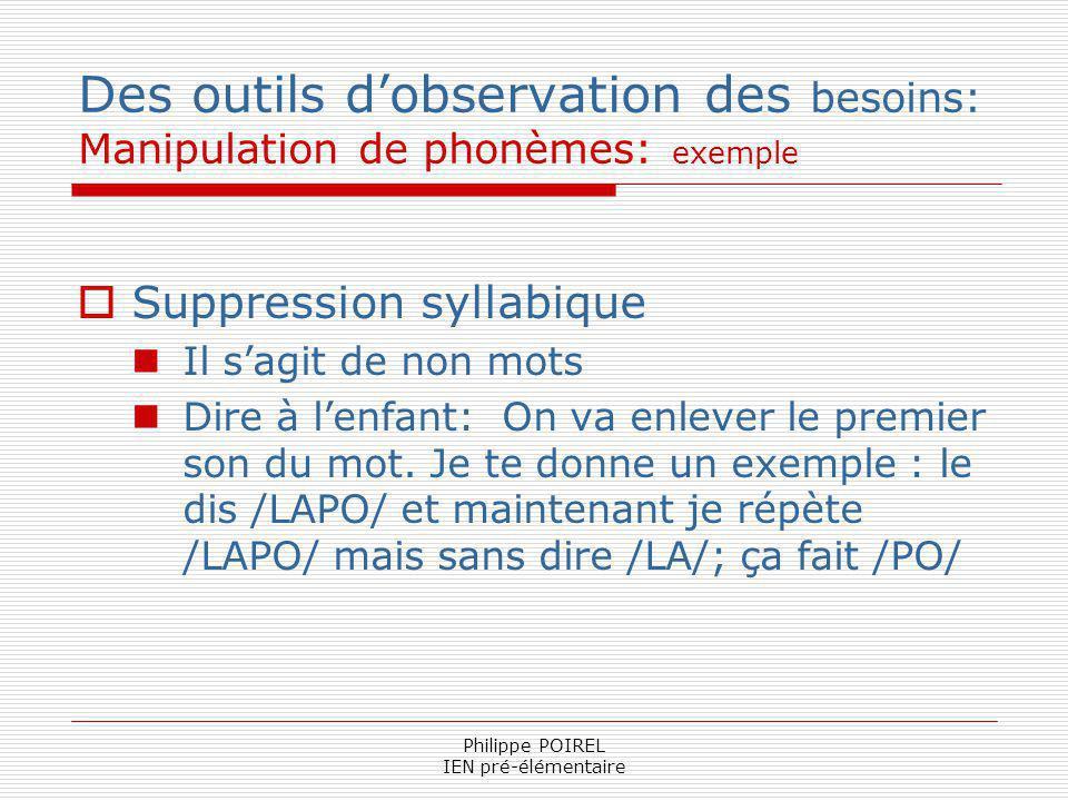 Philippe POIREL IEN pré-élémentaire Des outils dobservation des besoins: Manipulation de phonèmes: exemple Suppression syllabique Il sagit de non mots