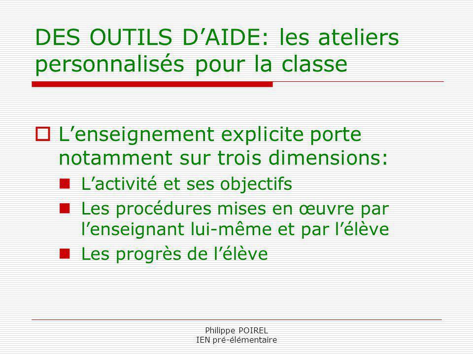 Philippe POIREL IEN pré-élémentaire DES OUTILS DAIDE: les ateliers personnalisés pour la classe Lenseignement explicite porte notamment sur trois dime