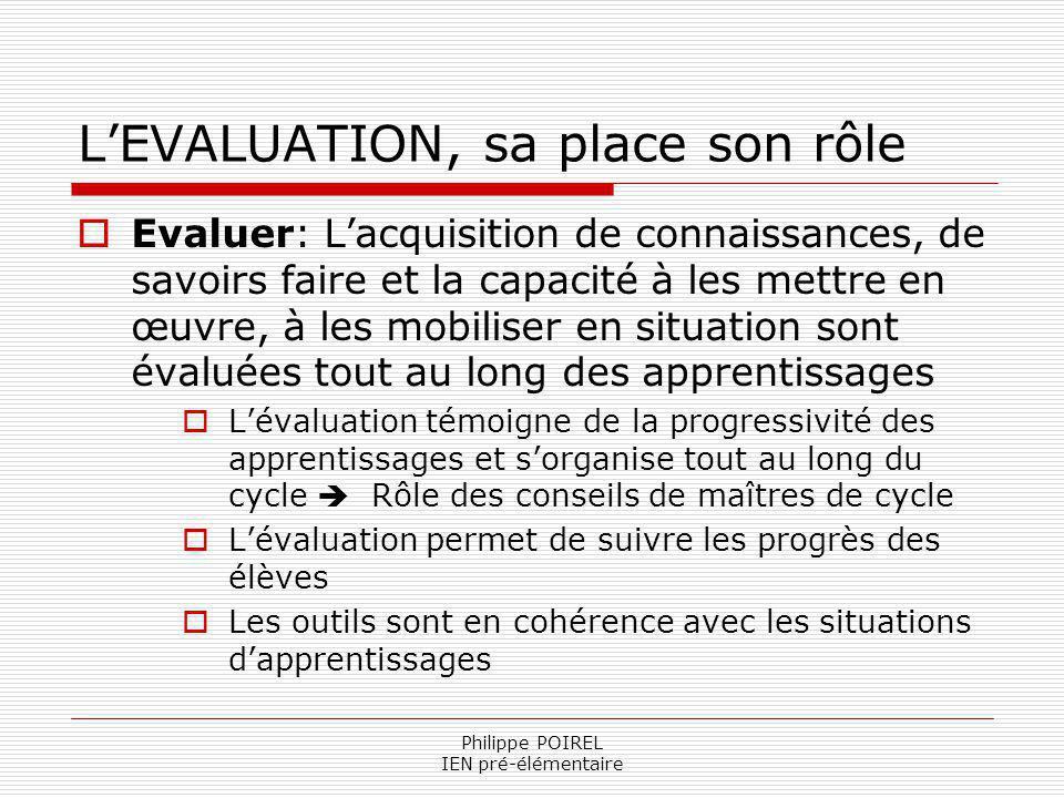 Philippe POIREL IEN pré-élémentaire LEVALUATION, sa place son rôle Evaluer: Lacquisition de connaissances, de savoirs faire et la capacité à les mettr
